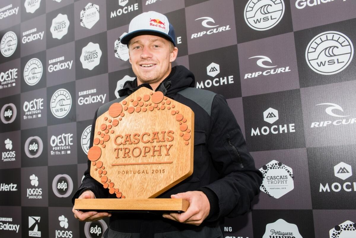 Kolohe Andino winner of the 2015 Portuguese Wave Series Cascais Trophy