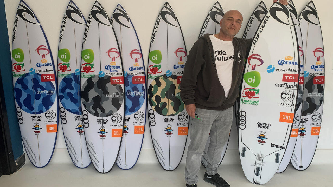 Johnny Cabianca and Medina's Surf Ranch quiver